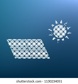 Solar energy panel. Eco trend concept sign. Vector. White textured icon at lapis lazuli gradient background.