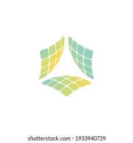 Solar Energy Solar Panel Farm Electric Farming Industry Helping Greener Eco Tree Natural Environment Logo