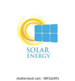 Solar energy panel. Flat web icon, sign, logo isolated on white background.  Solar energy logo design concept. Modern trend, vector illustration symbol.