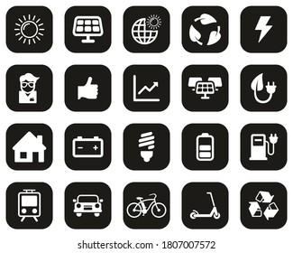 Solar Energy Or Renewable Energy Icons White On Black Flat Design Set Big
