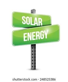 solar energy road sign illustration design over a white background