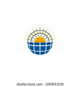 solar energy sun logo design vector
