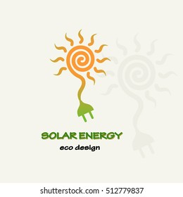 Solar Energy. Symbolic sun spiral and plug. Template for creating logos, emblems, monograms.