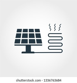 Solar Heating creative icon. Monochrome style design from urbanism icons collection. Solar Heating icon for web design, apps, software, print usage