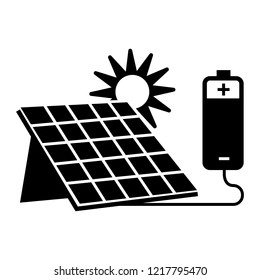 Solar house battery icon. Simple illustration of solar house battery vector icon for web design isolated on white background