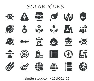 solar icon set. 30 filled solar icons.  Simple modern icons about  - Solar energy, Energy, panel, Green energy, Save Alien, Planet, Mars, Nuclear plant, Orbit, system