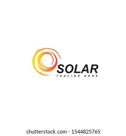 Solar logo design vector template.Abstract circle symbol