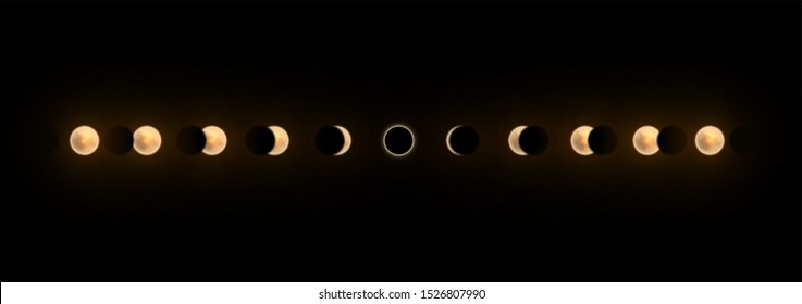 Solar and lunar eclipses full cycle. Sun and moon eclipses.