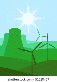 Solar, nuclear and wind green energy background