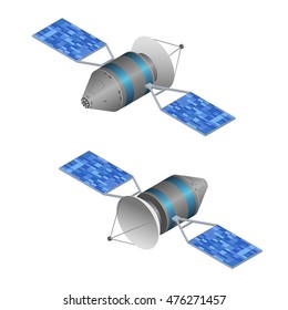 Solar Observation Satellite. Wireless Technology. Isometric View GPS Satellite. Vector illustration of two sides View of Satellites Back and Front