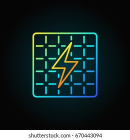 Solar panel colorful icon - vector concept sign or logo element on dark background