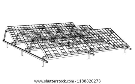 Solar Panel Concept Vector Rendering 3 D Stock Vector (Royalty Free ...