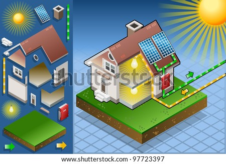 Solar Panel Energy Diagram 3 D Isometric Stock Vektorgrafik