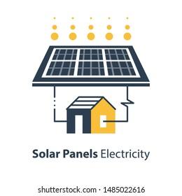 Solar panel and house, autonomous electricity, source of energy, flat design illustration