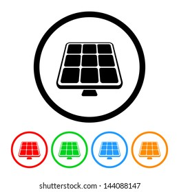 Solar Panel Icon Solar Energy Symbol Vector with Four Color Variations
