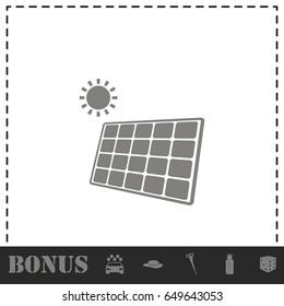 Solar panel icon flat. Simple vector symbol and bonus icon