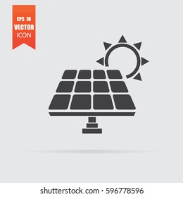 Solar panel icon in flat style isolated on grey background. For your design, logo. Vector illustration.