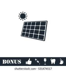 Solar panel icon flat. Vector illustration symbol and bonus pictogram