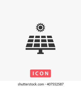solar panel Icon vector. Simple flat symbol. Perfect Black pictogram illustration on white background.