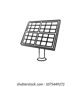 Solar panel industry hand drawn outline doodle icon. Equipment for renewable energy - solar panel vector sketch illustration for print, web, mobile and infographics isolated on white background.