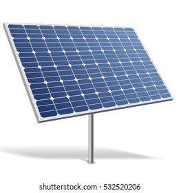 Solar panel isolated on white background vector illustration. Alternative renewable energy resource image. Green power technology.