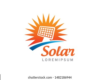 Solar panel logo symbol or icon template