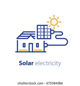 Solar panel on house roof, electrical services, energy saving concept, sun electricity, vector line icon