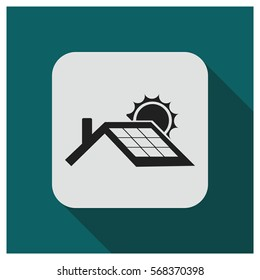 Solar panel roof vector icon