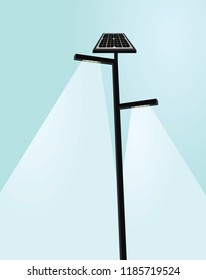 Solar panel street lights. vector illustration