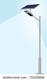 Solar panel street lights. vector illustration