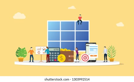 solar panel technology with people working together for business aspect concept