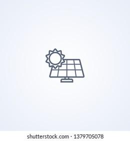 Solar panel, vector best gray line icon on white background, EPS 10
