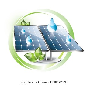 Solar panel with water drops and plant, circles background, EPS 10, isolated