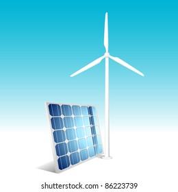 Solar panel and wind generator. Vector illustration.