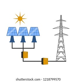 Solar panels connected to an electrical tower. Vector illustration design