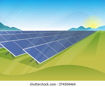 Solar panels farm in green fields during sunrise. Ecology environmental background for presentations, websites, infographics and banners. Modern realistic design