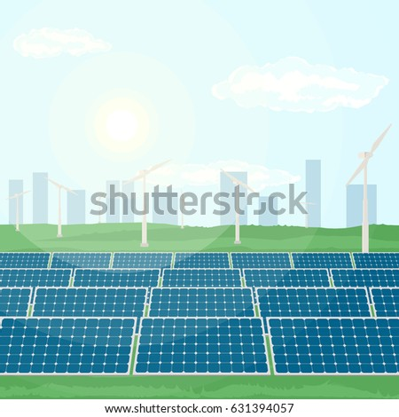 Solar panels installed near city produce green energy from sun, and windmills produce energy from wind. Flat vector illustration of the production of clean renewable energy.