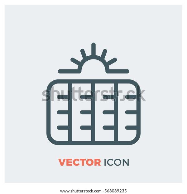 solar panels line vector icon
