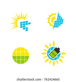 Solar panels logo symbol set