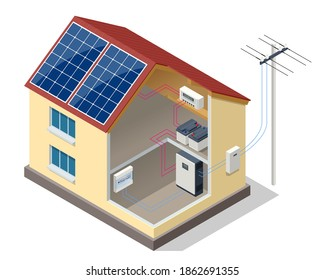Solar panels on the roof of the modern house. Renewable energy sources. Backup power energy storage system. Ecology home