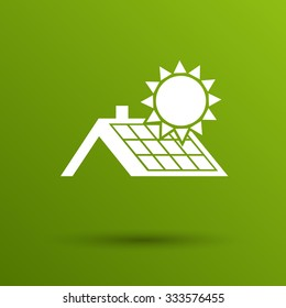 solar panels roof icon vector button logo symbol concept.
