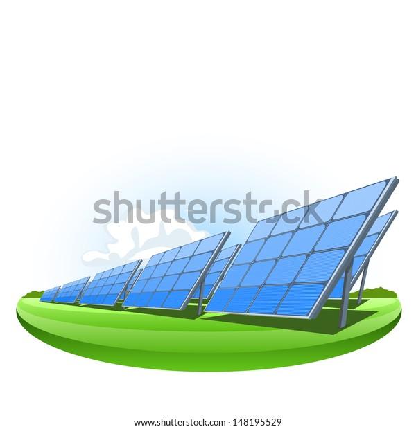 Solar Panels Vector Illustration Electricity Production