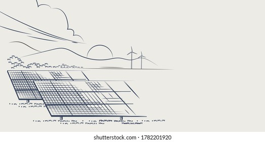 Solar panels and wind turbines or alternative sources of energy. drawn sketch. Vector illustration design.