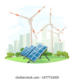 Solar panels and wind turbines, green energy, urban landscape, ecology. Ecological sustainable energy supply. Vector