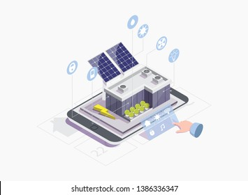 Solar photovoltaics PV industry and smart home systems controlled via smartphone, vector isometric illustration. Iot, renewable energy and smart grid technology concept for web banner, website page.