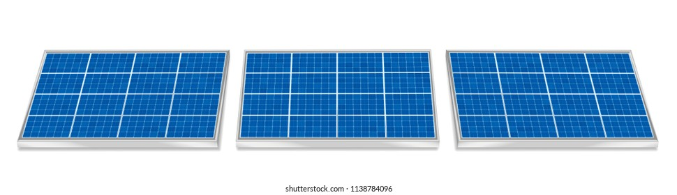 Solar plates collector set. Three 3d photovoltaic panels, side by side, horizontal positioning - isolated vector illustration on white background.