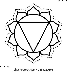 Solar Plexus Chakra coloring illustration  in outline style for modification and customizing  according to a specific task.