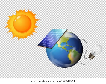 Solar power concept on transparent background effect