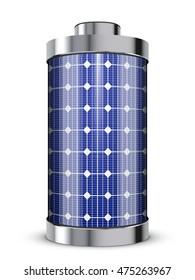 solar power concept - solar panel battery
