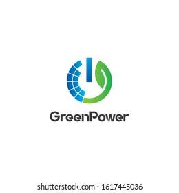 Solar Power Logo design vector template. Green Solar Logotype idea